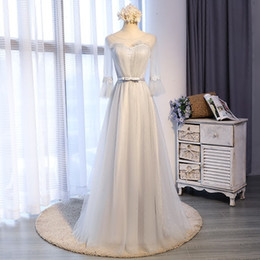 Wholesale Transparent Cocktail Dresses - Elegant Grey Tulle Prom Party Dress Transparent Scoop Neck Backless Lace Up Three Quarter Trumpet Sleeves Embroidery Ball Gown Floor Length