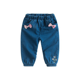 9e5cc683f97 Girls Jeans Pants Autumn 2018 Brand New Children s Pants Casual Floral Bow  Embroidered Girls Jeans blue Trousers For Toddler