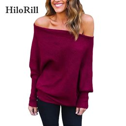 Jumpers baggy online-HiloRill Pull Femme 2017 Off spalla maglione lavorato a maglia Donna Casual manica lunga a pipistrello Baggy Jumpers Top Oversize Pullover XL