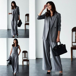 Wholesale Double Color Gowns - Mother Of The Bride Pant Suits For Wedding Grey Three Pieces Long Sleeve Women Suits Plus Size Evening wear Gowns