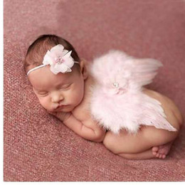 Wholesale Moda bebê recém nascido crianças pena laço Headband asas de anjo flores foto adereços fotografia recém nascida adereços