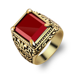 Wholesale Gold Stone Ring For Men - Gold silver Totem crystal rings full personality red black square resin rings trend four claws gem rings for men and women