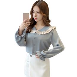 Ladies Elegant Sweet White Blue Shirt Long Flare Sleeve Peter Pan Collar  Ruffle Women Blouses and Tops Fashion Korean Blouse 8765ee042