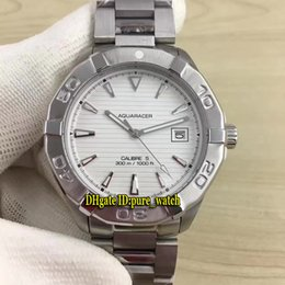 Wholesale calibre band - Brand Diver Aquaracer Calibre 5 300M WAY2111.BA0928 White Dial Automatic Mens Watch Mens Watch Stainless Steel Band Cheap Luxury Watches