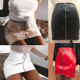 Wholesale Red Leather Skirts - Women High Waist PU Leather Mini Skirt Plain Flared Pleated Skirt Short Sexy