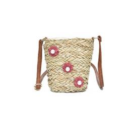 5e9e11f5741 knitting strings Coupons - Beach Solid String Mini Bucket Sweet flower Bags  Female Summer Knitting Straw
