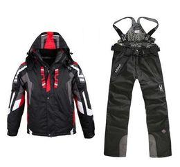 мужские лыжные костюмы Скидка Высокое качество зимний лыжный костюм для мужчин лыжная куртка брюки водонепроницаемый сноуборд наборы открытый спорт Сноуборд костюм