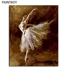 Wholesale Framed Oil Painting Girls - PAINTBOY Framed Picture DIY Oil Painting By Numbers Ballet Girl DIY Digital Canvas Oil Painting Home Decor For Living Room G408
