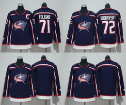 Wholesale waterproof jacket girls - 2018 Men Women Youth Kids Columbus Blue Jackets #72 Sergei Bobrovsky 71 Nick Foligno Blue Jerseys All Stiched Hockey Jersey Boy Girls