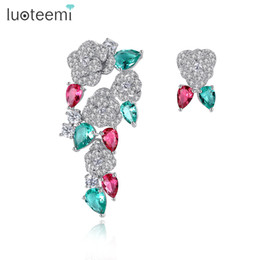Wholesale Stylish Jewelry For Women - LUOTEEMI Unique Bohemia Stylish Multi Waterdrop CZ Rose Flower Shape Stud Earrings for Women Fashion Jewelry Brinco Gift