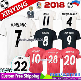 champions league 2018 2019 MARIANO men women new real Madrid soccer jersey  18 19 MODRIC Marcelo RAMOS ISCO VINICIUS JR BALE Football Shirt inexpensive  real ... 4c5e92cb6