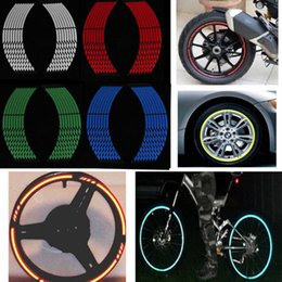 Wholesale wheel reflector - Hight Quality 16Pcs Motorcycle Styling Wheel Rim Stripe Reflective Decal Stickers Safety Reflector Car Stickers 150pcs BBA204
