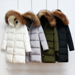0144f17729a 2019 90% White Duck Down Jacket 2018 Female Parkas For Winter Jacket Women  Long Thick Parka 100% Natural Raccoon Fur Collar Hood Coat