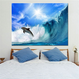 Wholesale Oil Painting Sea Blue Landscape - Canvas Paintings Home Decor Framework HD Prints 1 Piece Pcs Dolphin Pictures Blue Sky Giant Sea Waves Seascape Posters Wall Art