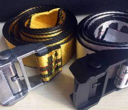 Wholesale Genuine Belts - O WHITE Belts Men Extend Long 200CM Long Fashion Yellow Belt Women Hip hop Streetwear Skateboards Virgil Abloh Industrial