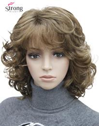 Peluca rubias online-Short Tousled Curls Brown, Auburn, Blonde Full Synthetic Pelucas COLOR CHOICES