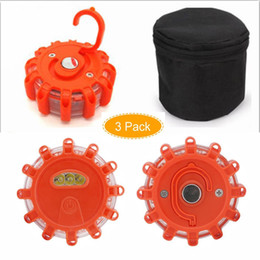 Wholesale Magnetic Flashing Led - 3 Pack SlimK LED Road Flares Flashing Warning Light Roadside Flare Emergency Disc Beacon, Magnetic Base for Car or Marine Boat