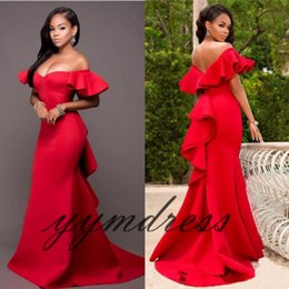 Wholesale Sexy Gorgeous Evening Dress Cheap - Gorgeous Prom Dresses Off Shoulder Red Satin Backless Mermaid Evening Gowns Saudi Arabia Ruched Cheap Formal Party Dress