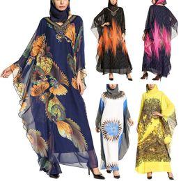 Femmes Nouvelle Mode Musulmane Islamique Arabie Saoudite Marocaine Imprimé Manches Longues Robe Robe Robes Robes Kaftan Pour Soirée Abaya Dudai ? partir de fabricateur