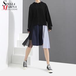 Wholesale Irregular Hem Dresses - 2018 Women Spring Black Causal Hooded Dress Irregular Pleated Hem With Mesh Stitched Female Knee Length Streetwear Dresses 3258