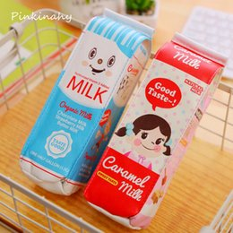 Wholesale Gift Items For Kids - Cute Kawaii PU Pencil Case Creative Milk Pencil Bag For Kids Gift Novelty Item School Materials Free Shipping