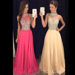 2019 vestidos de quinceañera Dew Luxo Fino Set Para Brocar Vestidos de Baile Chiffon Em Torno Do Pescoço de Volta Longo Oco Partido Longo Vestidos de Noite Vestidos De Fiesta HY1542