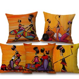 bedroom collections UK - Orange Abstract Painting Africa life Collection African Woman Home Decor Pillow Case Gallery Exotic Restaurant Cushion Cover Bedroom Decor