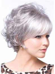 Wholesale Silver Curly Wig - Silver short curly hair wig with bang Heat resistant fiber synthetic wig capless fashion wig for women