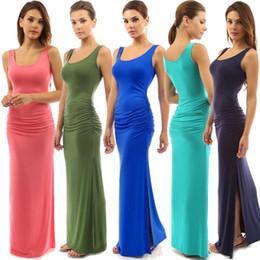 Wholesale Classic Women S Wear - Sexy Slit Dress Women 2018 Slim Fashion Clubwear Night Wear Bodycon Dresses Long classic dress sleeveless tank dress CL473