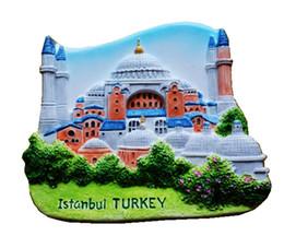 Frigoríficos azules online-Estambul Mezquita Azul Aromaterapia Porcelana Fría 3D Imanes de Nevera Turquía Viajes Recuerdos Refrigerador Pegatinas Magnéticas