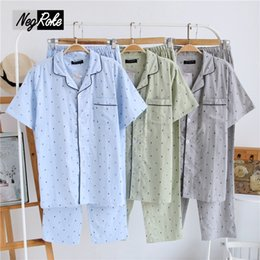 Wholesale pajamas shorts set plus - 2017 Summer navy style 100% cotton mens pajamas sets simple short sleeve male plus size casual sleepwear pijamas for men