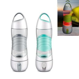 Wholesale plastic drink mugs - Humidifier Sports Water Bottle 400ML Beauty Spay Cup Moisturizing Light Night DIDI Remind Drink Water Mug LED Light SOS Alarm Remind Kettle
