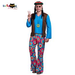Vintage hippie kleidung online-Männer 60er Jahre Retro Hippie Peace und Love Free Weste Kostüm Karneval Party Vintage Erwachsene männliche Outfits Kleidung Halloween Kostüme