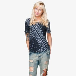 Camisa preta do impressão do bandana on-line-Mulheres T-shirt Preto Bandana 3D Full Print Girl Tamanho Livre Stretchy Casual Tops Senhora Curto Mangas Digital Graphic Camiseta Blusa (GL28826)