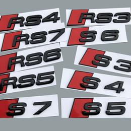 S3 audi online-Nero lucido S3 S4 S5 S6 RS3 RS6 RS8 RS7 S7 posteriore Trunk Badge Emblem Sticker Lettera Logo decalcomania di ricambio per Audi