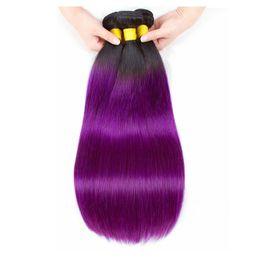 Два тонных цвета наружных прямых волос онлайн-Два тона 1B/фиолетовый прямые человеческие волосы ткать 3/4 пучки Оптовая цветные бразильские Ombre Виргинские человеческих волос расширение сделок