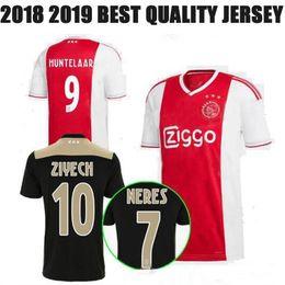 13f5ea47c29 2018 2019 Ajax FC Soccer Jersey 9 Huntelaar 10 ZIYECH 25 Dolberg NERES  SCHONE 34 Nouri 18 19 Red Black Customized name Football Shirt