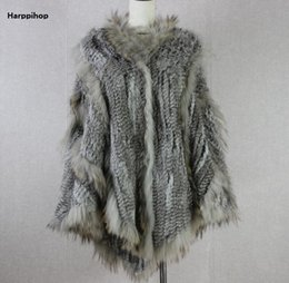 Wholesale Gold Poncho - 2018 Russian europea fashion warm Ladies Large Rabbit Fur Poncho Hooded Raccoon Dog Fur Trimming big hood cape shawl fast shipp