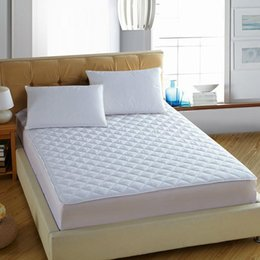Wholesale Fitted Bedspreads Twin - Contracted Style White Mattress Cover Bed Sheets Solid Fitted Sheet High Density Sanding Quilted Bedspreads Twin Queen King Size