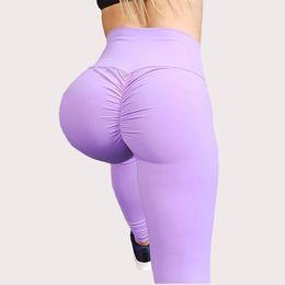 Pantalones de yoga de cintura alta sólidos para las mujeres Soft Sexy Push Up Gym Leggings deportivos Sexy Push Up Buttock Lifting Pantalones desde fabricantes