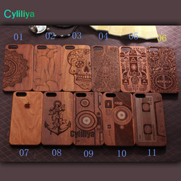 Wholesale Iphone Laser Engraving - 11 pattern Mobile accessories laser engraving custom design wooden cell phone case for iphone x iphone8 plus with opp bags