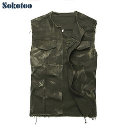 армия зеленый майка мужчины Скидка Sokotoo мужская армия зеленый o-образным вырезом Open stitch джинсовый жилет без рукавов отверстия разорвал промывают бахромой Майка жилет верхняя одежда