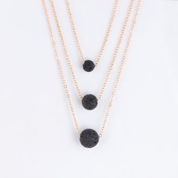 Wholesale party rock jewelry - Multilayer Lava Necklace Lava Rock Bead Essential Oil Diffuser Necklace Pendants Chokers Gold Chains Women Fashion Jewelry DROP SHIP 162642