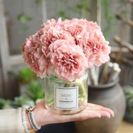 le teste di fiori artificiali sono aumentate Sconti 6 fiori artificiali di colore rosa bouquet di peonia per la decorazione di nozze 5 teste di peonie fiori finti decorazioni per la casa ortensie di seta fiori economici