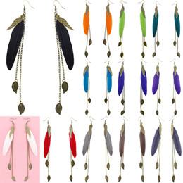 Wholesale Dangling Chain - Feather Earrings 12 Colors wholesale lots Cute Bronze Leaf Chain Light Dangle Eardrop Hot (White Black Brown Teal Purple Red Orange) (JF118)