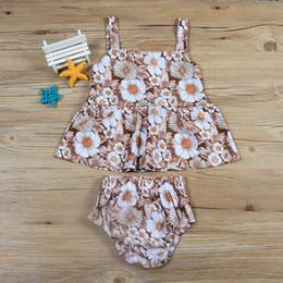 traje de bebé de estilo coreano Rebajas Summer Baby Floral Impreso sin mangas de la princesa Vestidos de estilo coreano top + Shorts Outfit Set 2018 conjuntos de ropa de la muchacha