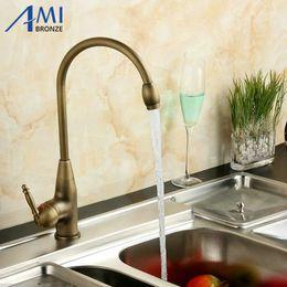 Wholesale Kitchen Faucet Bronze - Kitchen Faucet Antique Single Hole Counter Basin Faucet Hot and Cold F1018