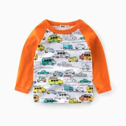 Wholesale t shirt cars baby - Baby Boy Sweatshirt cotton shirt Brand Children Long Sleeve Tops Boys Cartoon Cars T-shirts Summer tops BY-033