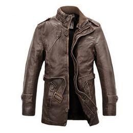Wholesale Mens Adjustable Belts - Wholesale- 2017 New Jacket men Slim Warm mens washed Leather Motorcycle Biker Jackets Standing Collar Coat masculina