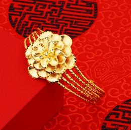 Bracelets plaqués or 24 carats en Ligne-2018 nouvelle plaque de laiton 24k or véritable bracelet pétales femme or plaqué ouverture imitation or vietnamien bracelet en or bracelet style ouvert